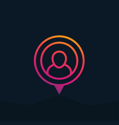 Man on pointer icon with gradient vector