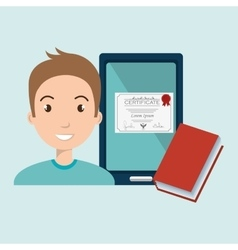 man student tablet book diploma vector image