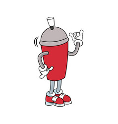 Mascot featuring a canister of spray paint vector