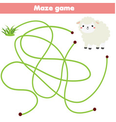 Maze game for children help lamb find grass vector