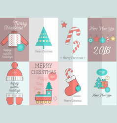 merry christmas greeting posters set vector image