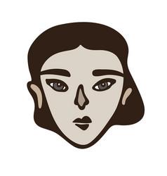 minimalistic linear female portrait dark haired vector image