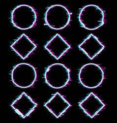 neon colors geometric figures with glitch effect vector image
