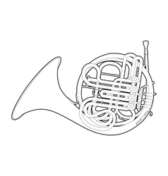 Outline French horn vector image