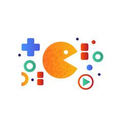 Pacman sign retro arcade game symbol vector
