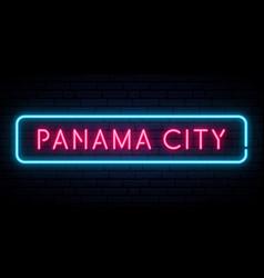 panama city neon sign bright light signboard vector image