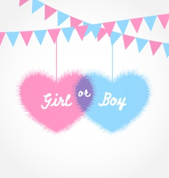 Pink and blue baby shower in form hearts vector