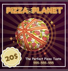 pizza planet banner fast space poster vector image