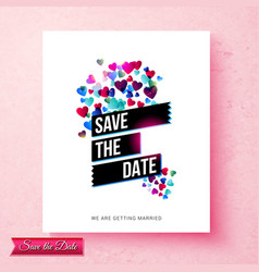 pretty pink save the date wedding invitation vector image