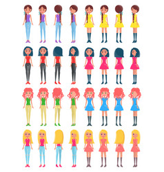 Pretty women in stylish outfits from all sides set vector
