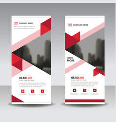 red triange business roll up banner flat design vector image vector image