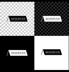 reserved icon isolated on black white and vector image