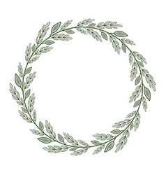 Round frame with simple green and white branches vector