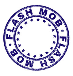 Scratched textured flash mob round stamp seal vector