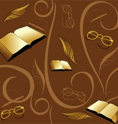 seamless background with books and pens vector image