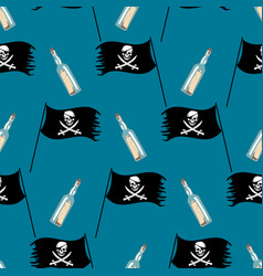 Seamless pattern with pirate flag and bottle vector