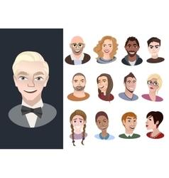 Set of international cartoon avatar icons vector image