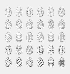 Set sketch icons easter eggs vector
