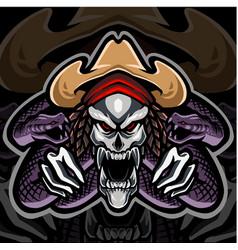 skull mascot logo with snake vector image