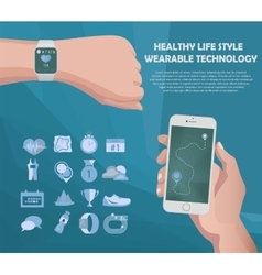smart watch and smartphone fitness sport vector image