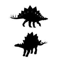 Stegosaurus dinosaur silhouettes vector image