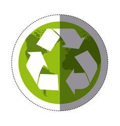 Sticker color map world with recycling symbol vector