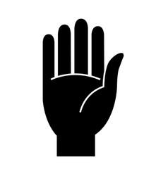 stop flat hand icon flat symbol vector image