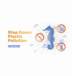 Stop ocean plastic pollution banner vector