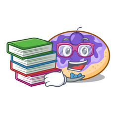 Student with book donut blueberry mascot cartoon vector