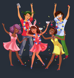 teenagers at night party vector image