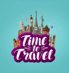 Time to travel banner journey traveling around vector