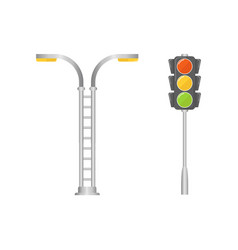 traffic light and street vector image