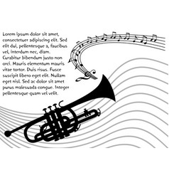 Trumpet silhouette with wavy stave and musical vector