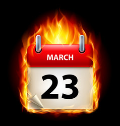 twenty-third march in calendar burning icon on vector image