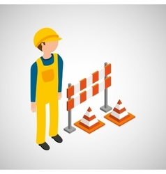 Under construction worker barrier cone vector