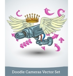 Video camera with wings and crown isolated on vector image