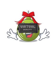 virtual reality christmas ball green with mascot vector image
