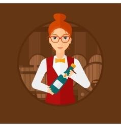 Waitress holding bottle in wine cellar vector