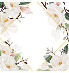 watercolor white magnolia blooming flower branch vector image