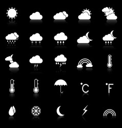 Weather icons with reflect on black background vector image
