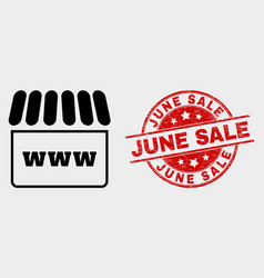webshop icon and distress june sale stamp vector image