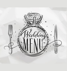 wedding menu crumpled vector image vector image