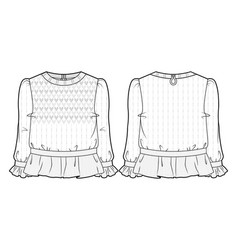 White knitted blouse vector