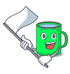 With flag mug mascot cartoon style vector
