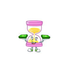 With money bag icon sandglass in cartoon vector