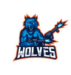 wolves esport mascot logo vector image