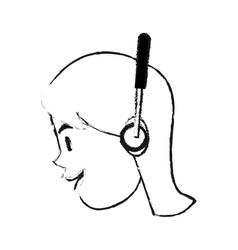 Woman using headphones icon image vector