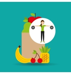 woman weight exercising healthy food bag vector image