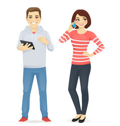 Young people with gadgets vector