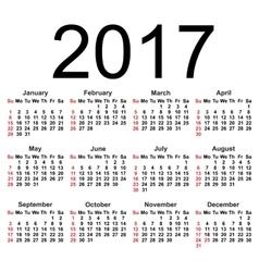 Calendar for 2017 on white background EPS8 vector image